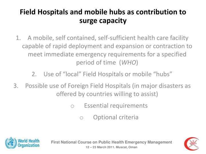 Field Hospitals and mobile hubs as contribution to surge capacity