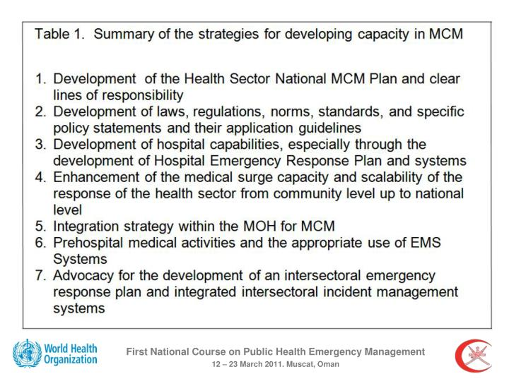 First National Course on Public Health Emergency Management