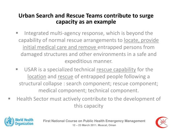Urban Search and Rescue Teams contribute to surge capacity as an example