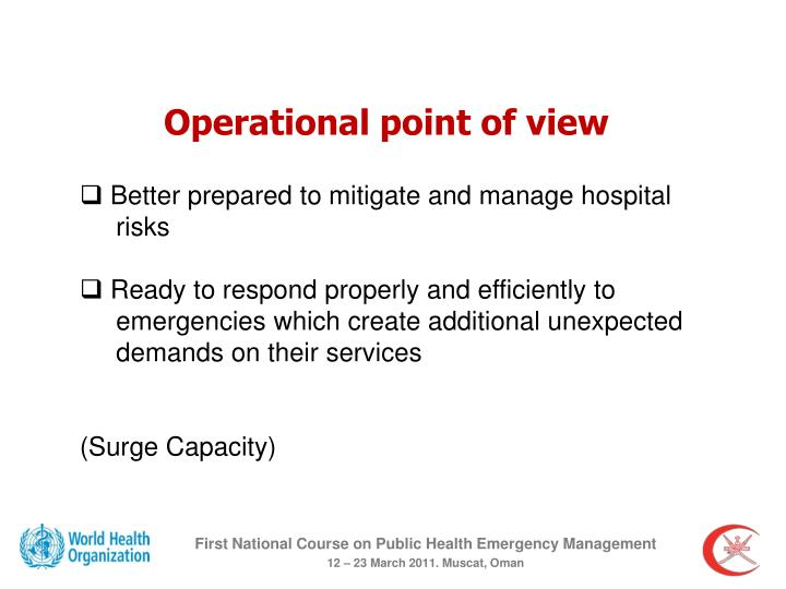 Operational point of view