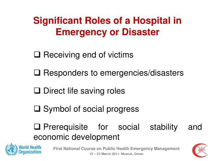 Significant Roles of a Hospital in Emergency or Disaster