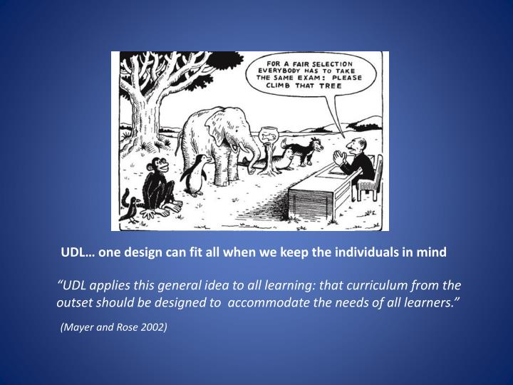 Udl one design can fit all when we keep the individuals in mind