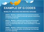 example of g codes mobility walking and moving around