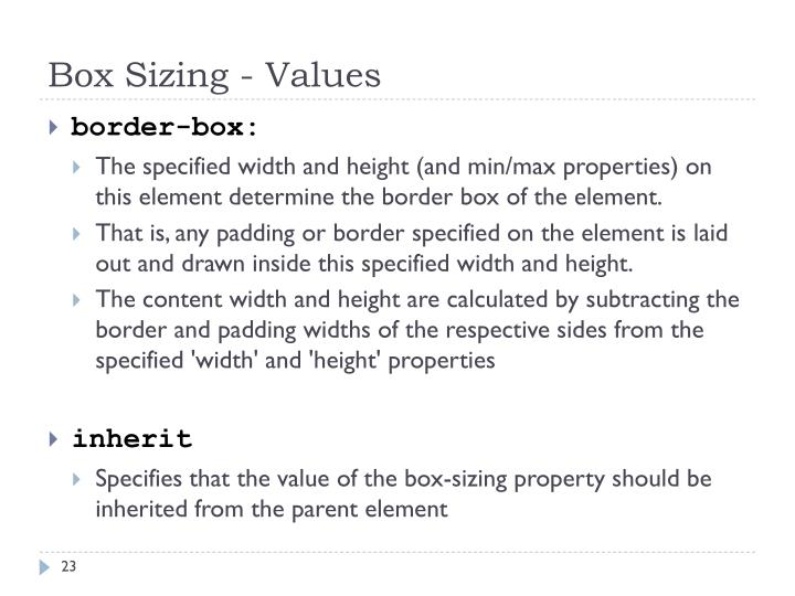 Box Sizing - Values