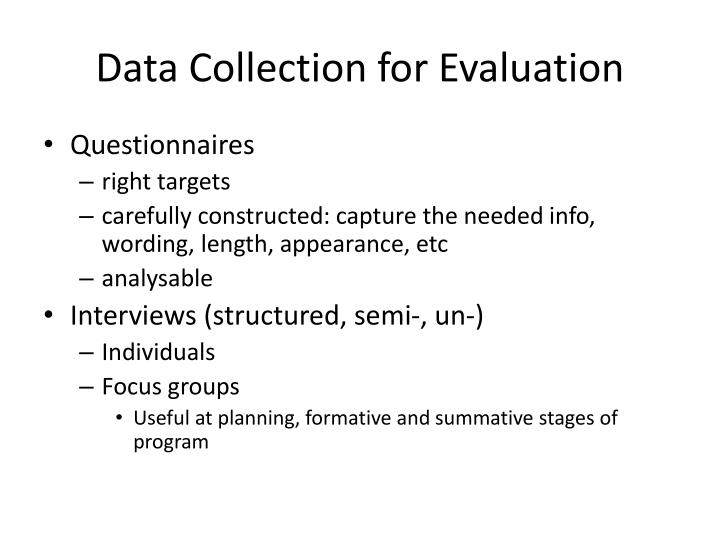 Data Collection for Evaluation