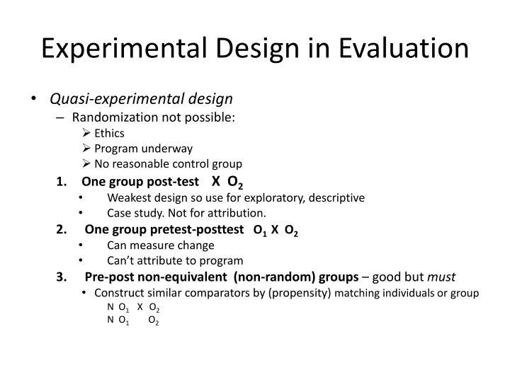 Experimental Design in Evaluation