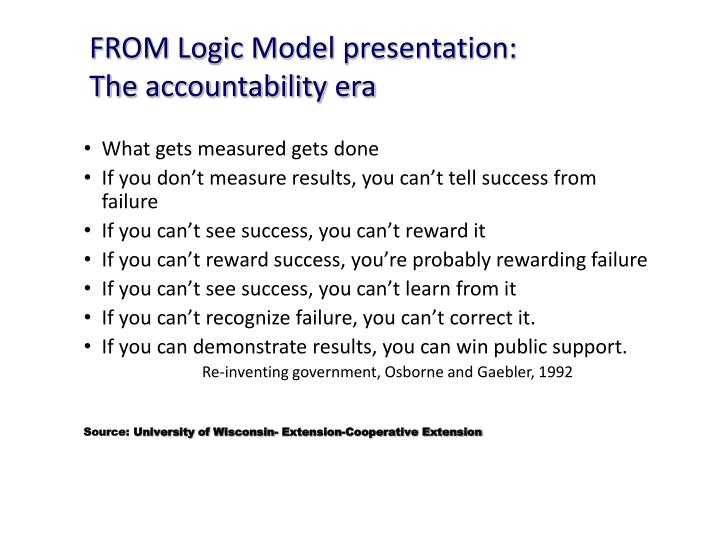 FROM Logic Model presentation: