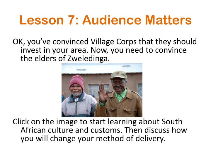 Lesson 7: Audience Matters