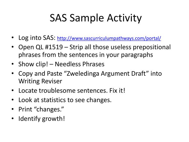 SAS Sample Activity