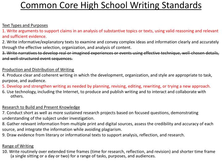 Common Core High School Writing Standards