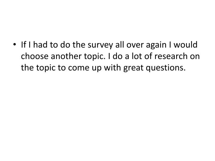 If I had to do the survey all over again I would choose another topic. I do a lot of research on the topic to come up with great questions.