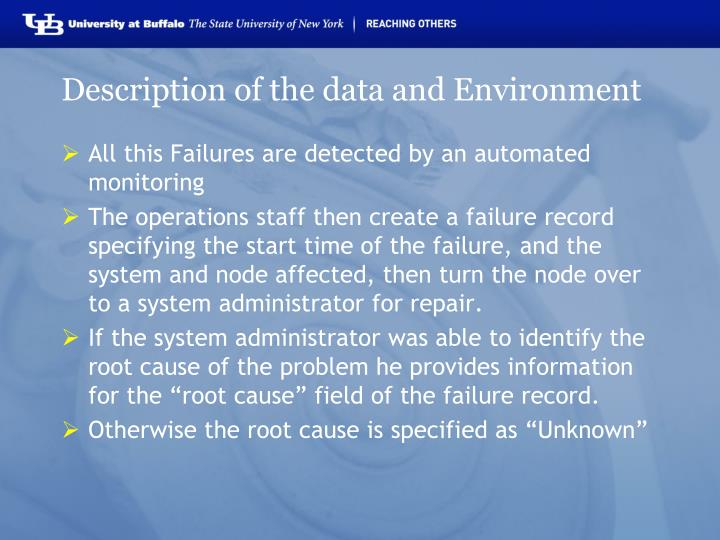 Description of the data and Environment