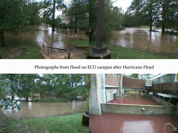 Photographs from flood on ECU campus after Hurricane Floyd