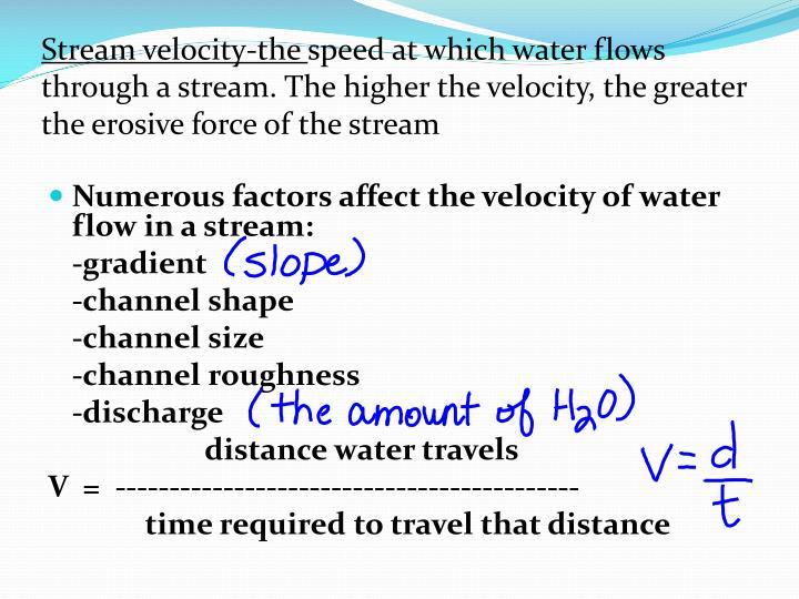 Stream velocity-the