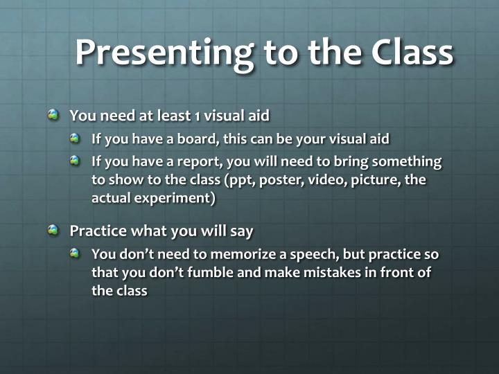 Presenting to the Class