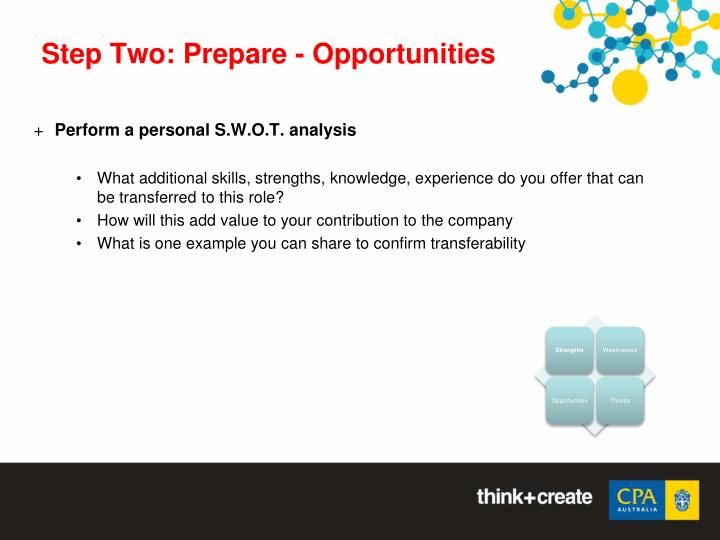 Step Two: Prepare - Opportunities