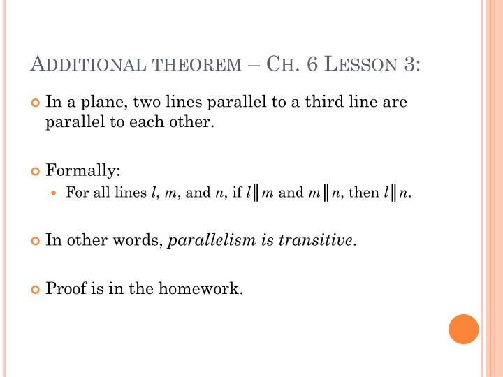 Additional theorem – Ch. 6 Lesson 3: