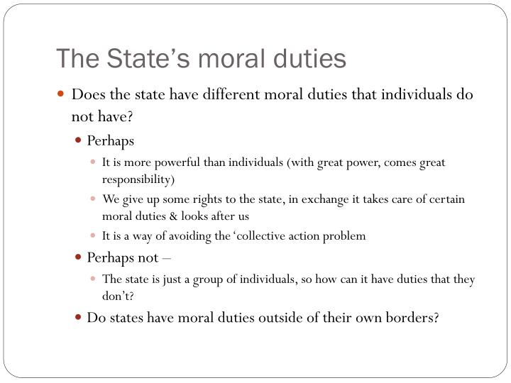 The State's moral duties