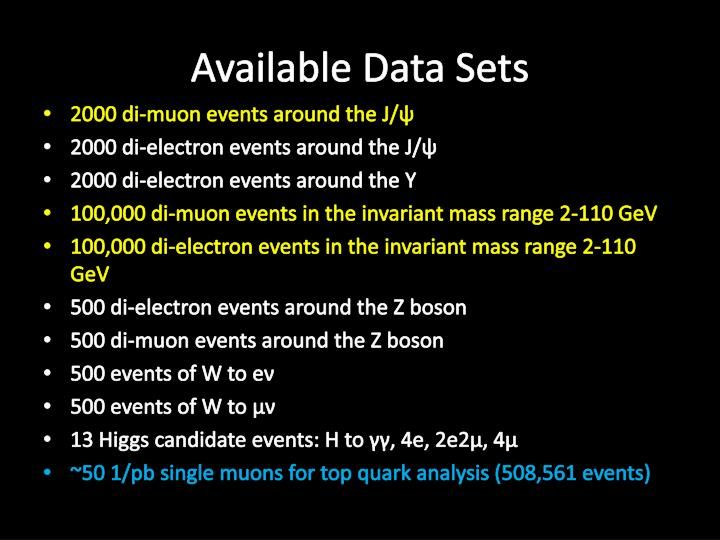 Available Data Sets
