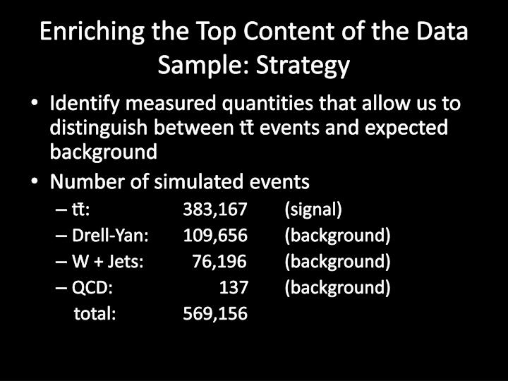 Enriching the Top Content of the Data Sample: Strategy