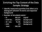 enriching the top content of the data sample strategy