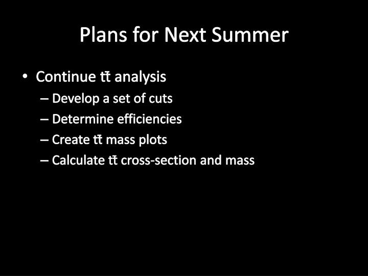 Plans for Next Summer