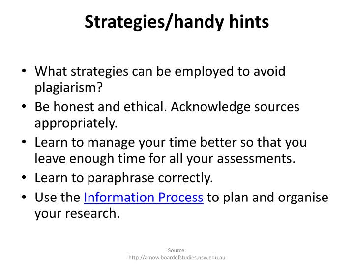 Strategies/handy hints