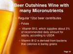 beer outshines wine with many micronutrients