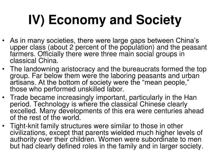 IV) Economy and Society