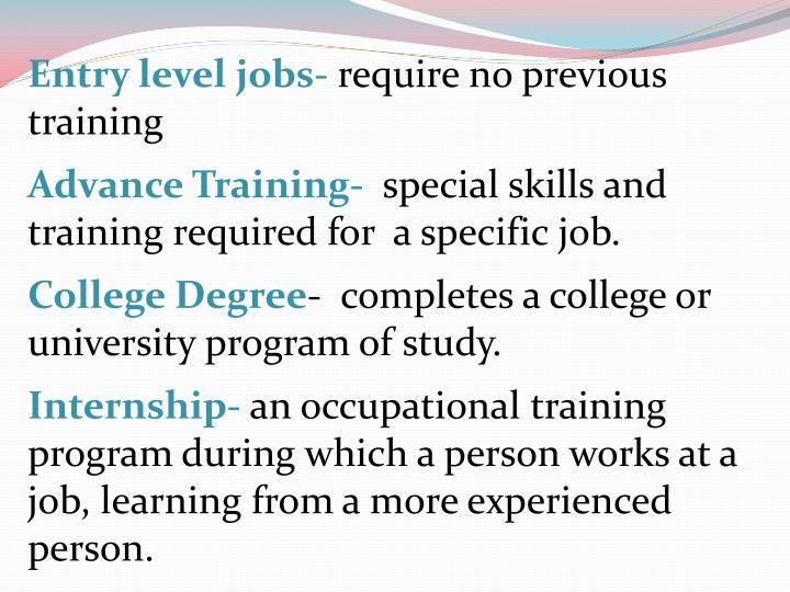 Entry level jobs-