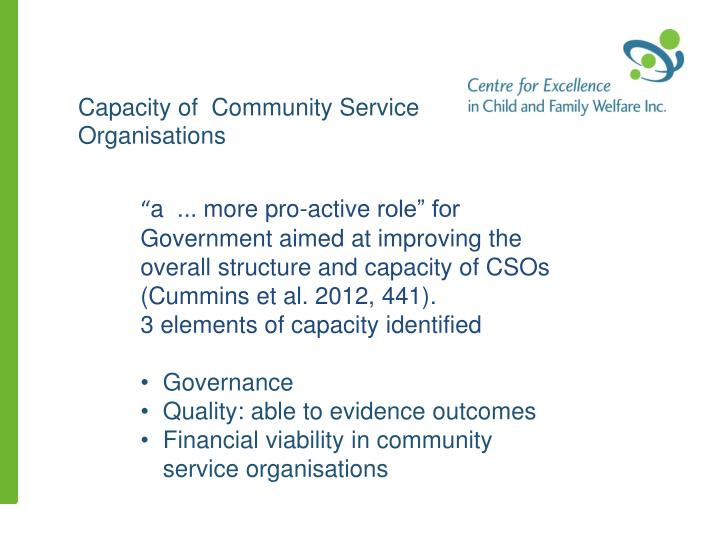 Capacity of  Community Service Organisations