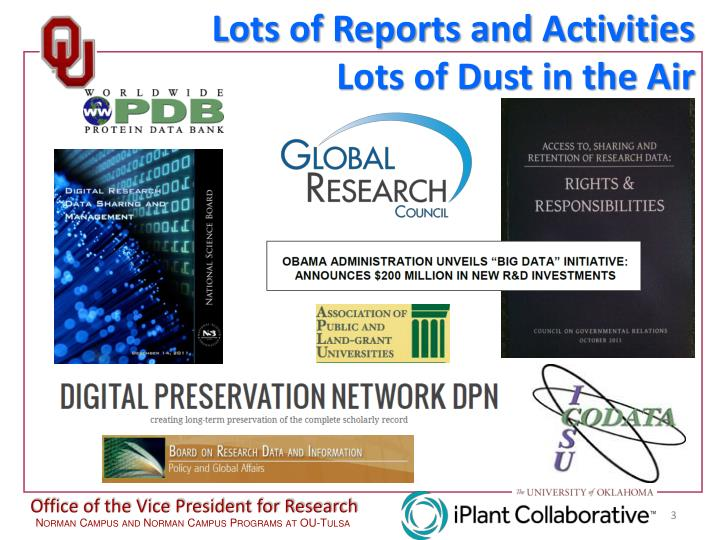 Lots of Reports and Activities