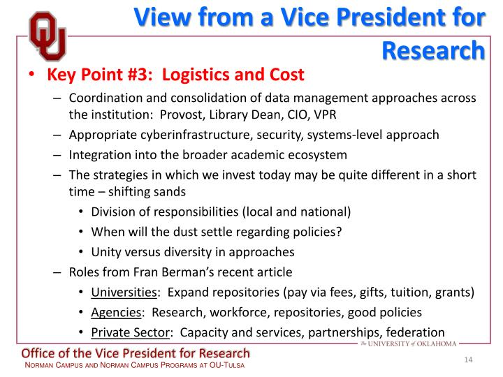 View from a Vice President for Research