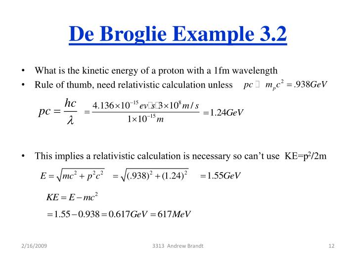 De Broglie Example 3.2