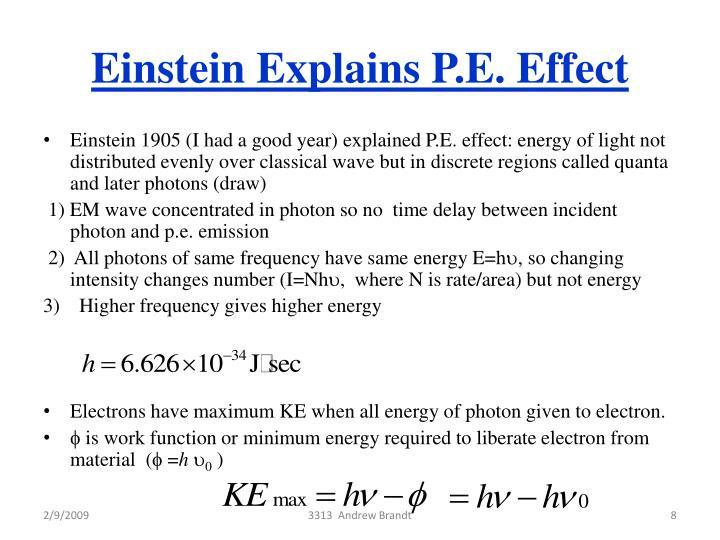 Einstein Explains P.E. Effect