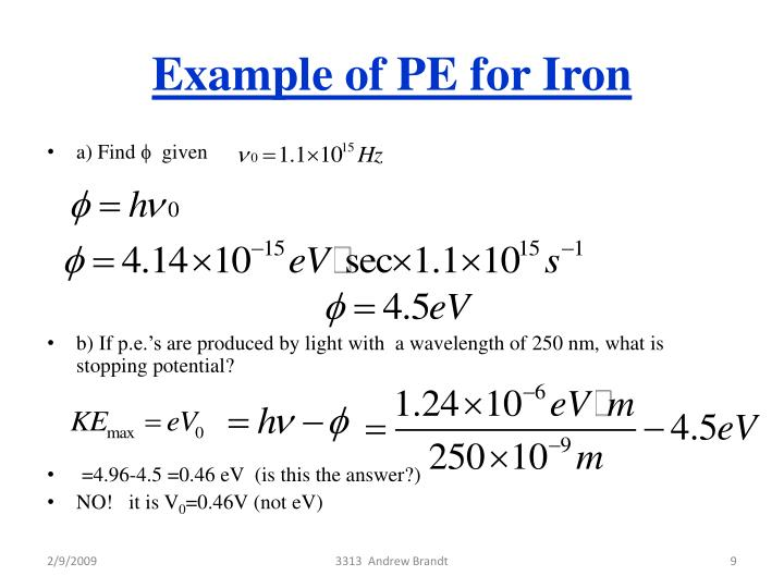 Example of PE for Iron