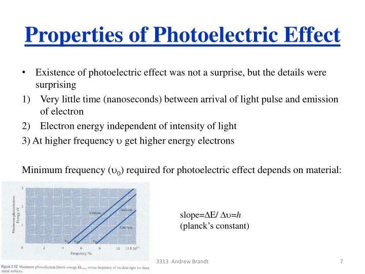 Properties of Photoelectric Effect