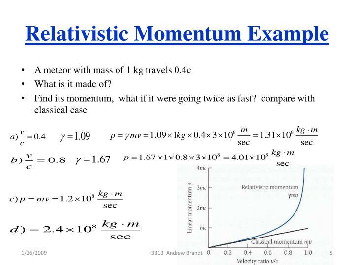 Relativistic Momentum Example