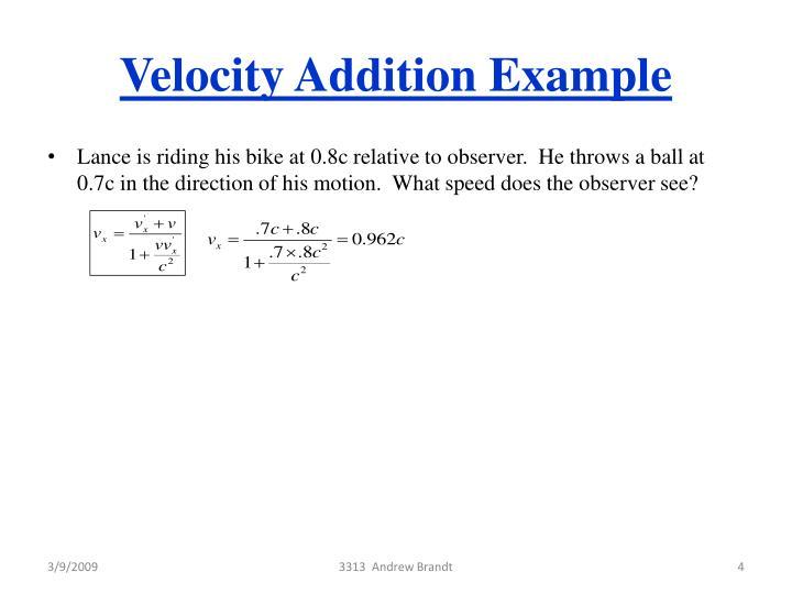 Velocity Addition Example