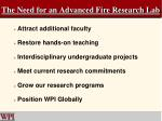 the need for an advanced fire research lab