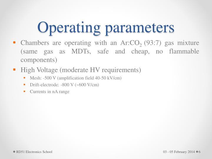 Operating parameters