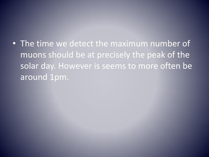 The time we detect the maximum number of