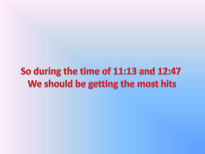 So during the time of 11:13 and 12:47