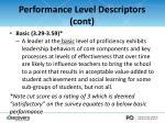performance level descriptors cont