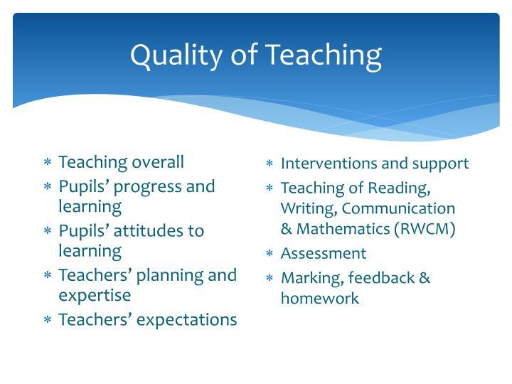 Quality of Teaching