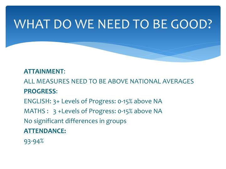 WHAT DO WE NEED TO BE GOOD?
