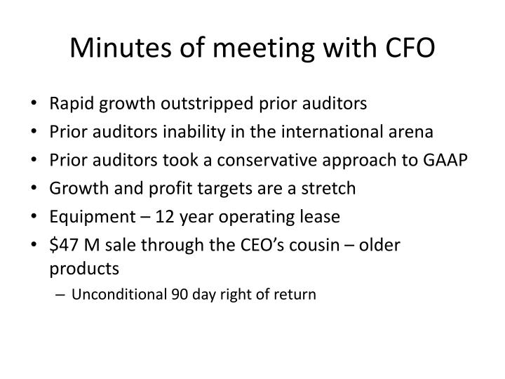 Minutes of meeting with cfo