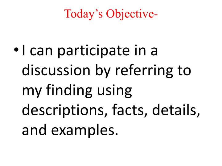 Today's Objective-