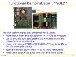 functional demonstrator gold