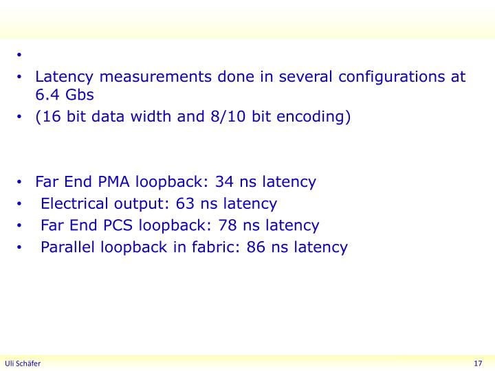 Latency measurements done in several configurations at 6.4